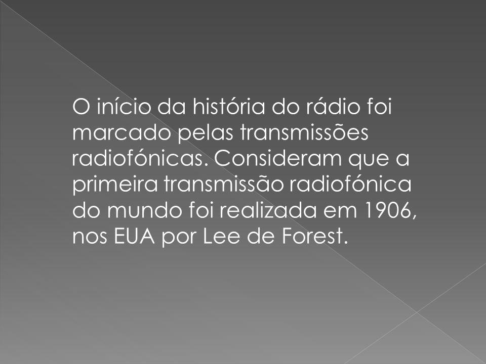 O início da história do rádio foi marcado pelas transmissões radiofónicas. Consideram que a primeira transmissão radiofónica do mundo foi realizada em
