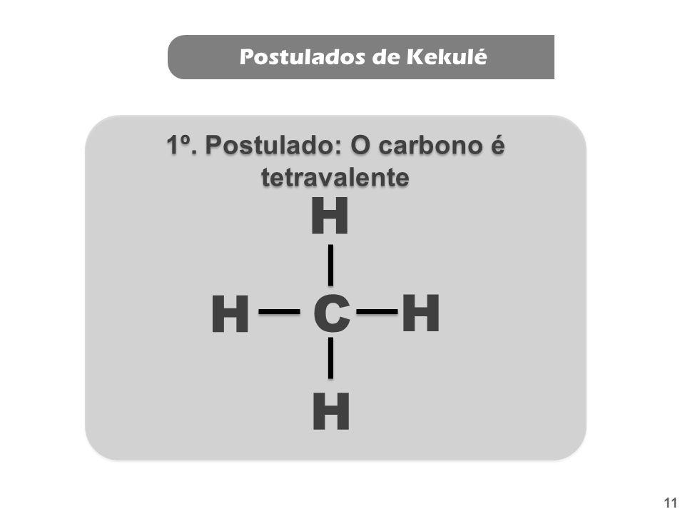 Postulados de Kekulé: O Carbono é Tetravalente: Carbono Número atômico = 6 1s 2 2s 2 2p 2 K = 2 L = 4 Formam-se, portanto, quatro ligações covalentes