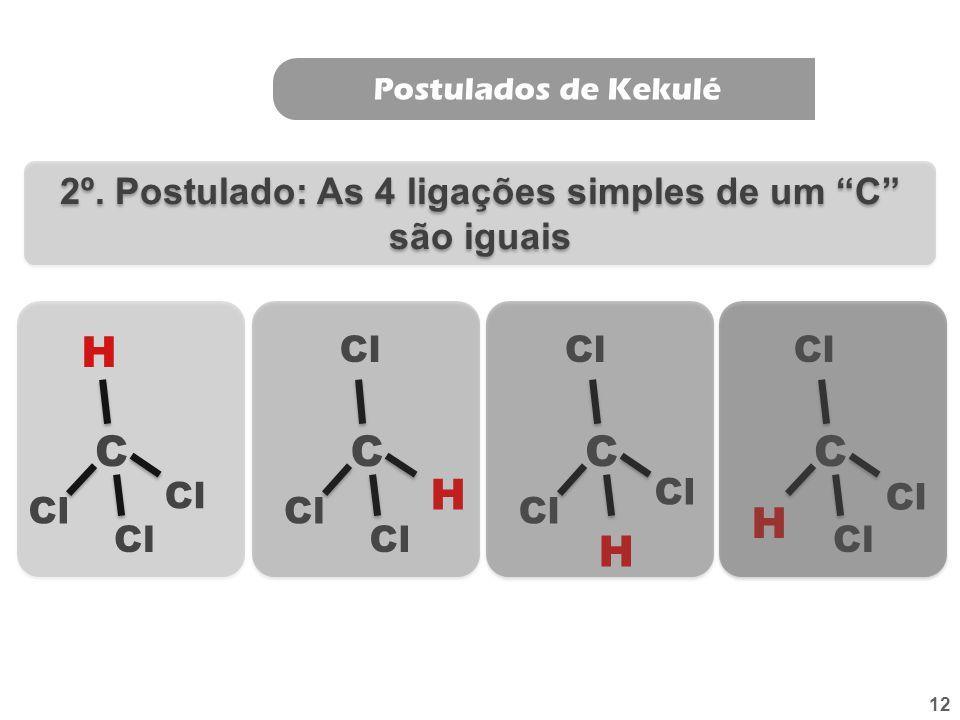 11 Postulados de Kekulé 1º. Postulado: O carbono é tetravalente C H H H H