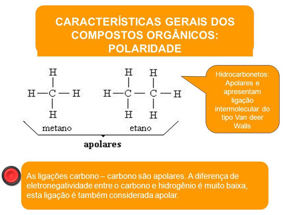 19 Propriedades Formam cadeias carbônicas; São compostos moleculares (covalentes); Possuem baixos P.F. e P.E.; Na sua grande maioria, são APOLARES; Ap