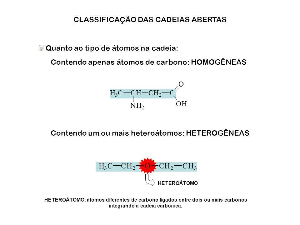 CADEIAS ABERTAS OU FECHADAS As cadeias ABERTAS também são chamadas de acíclicas ou alifáticas. As cadeias FECHADAS também são chamadas de cíclicas. CH