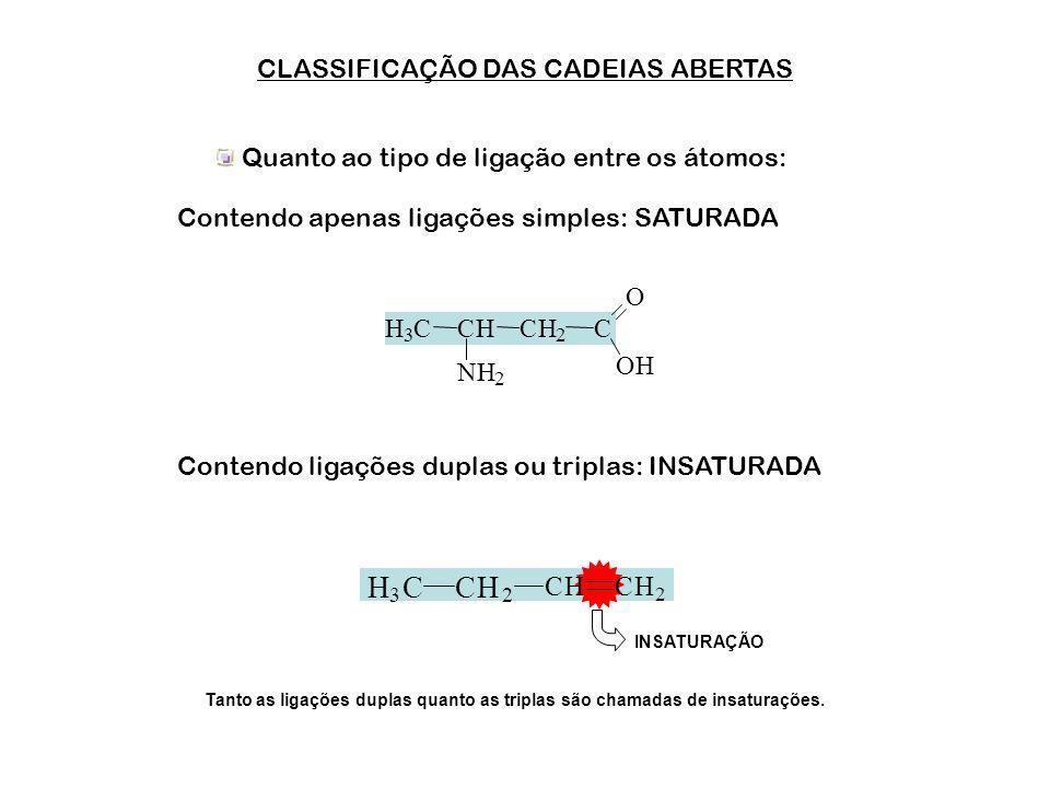 CLASSIFICAÇÃO DAS CADEIAS ABERTAS Quanto ao tipo de átomos na cadeia: Contendo apenas átomos de carbono: HOMOGÊNEAS Contendo um ou mais heteroátomos: