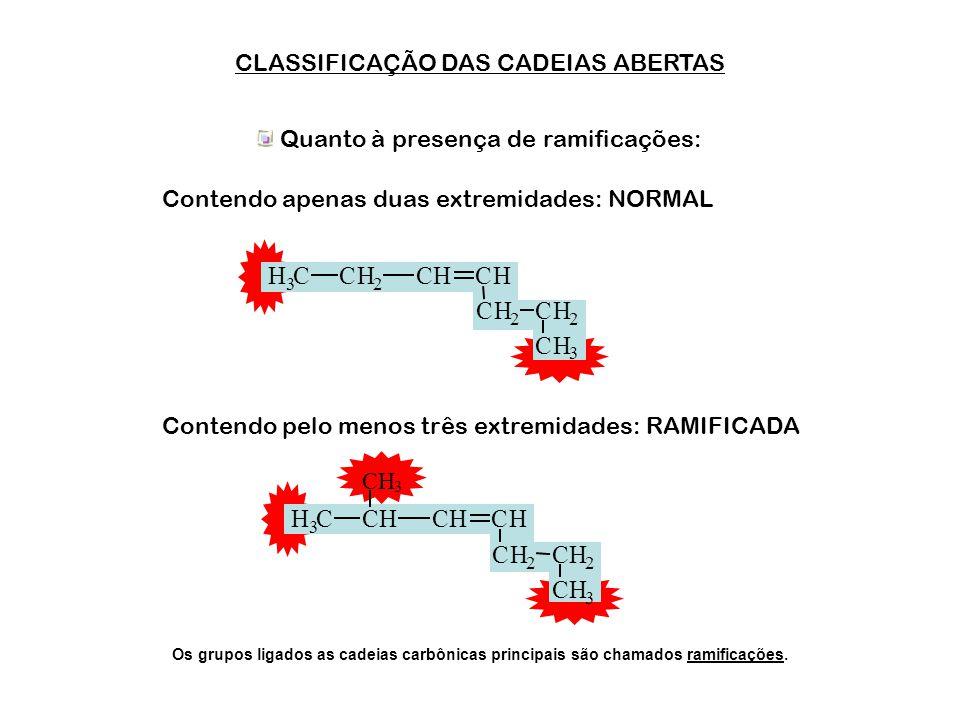 CLASSIFICAÇÃO DAS CADEIAS ABERTAS Quanto ao tipo de ligação entre os átomos: Contendo apenas ligações simples: SATURADA Contendo ligações duplas ou tr