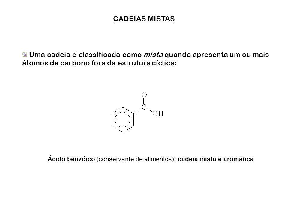 CLASSIFICAÇÃO DAS CADEIAS FECHADAS Sua classificação é baseada na presença ou ausência de um grupo de átomos de carbono chamado grupo aromático ou ane