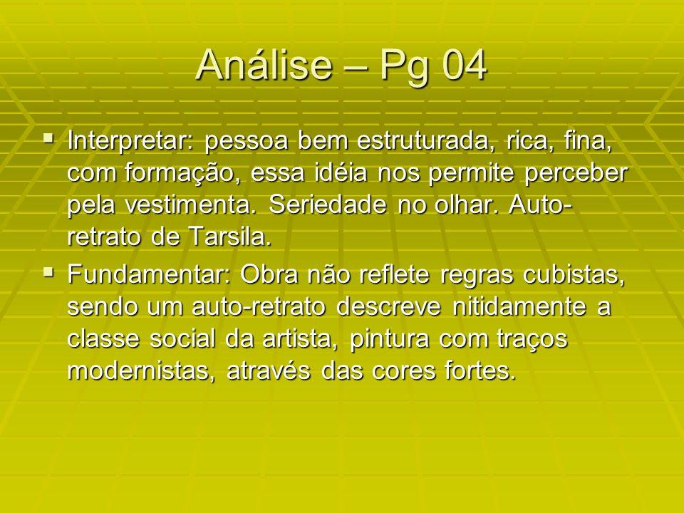 Análise – Pg 04 Interpretar: pessoa bem estruturada, rica, fina, com formação, essa idéia nos permite perceber pela vestimenta.