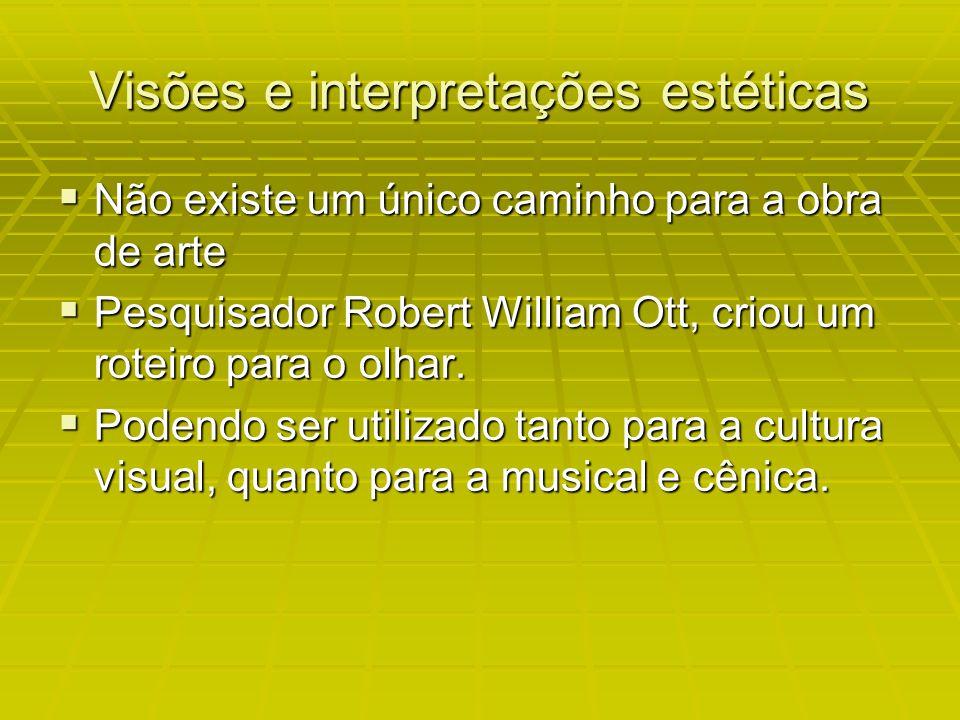 Visões e interpretações estéticas Não existe um único caminho para a obra de arte Não existe um único caminho para a obra de arte Pesquisador Robert William Ott, criou um roteiro para o olhar.