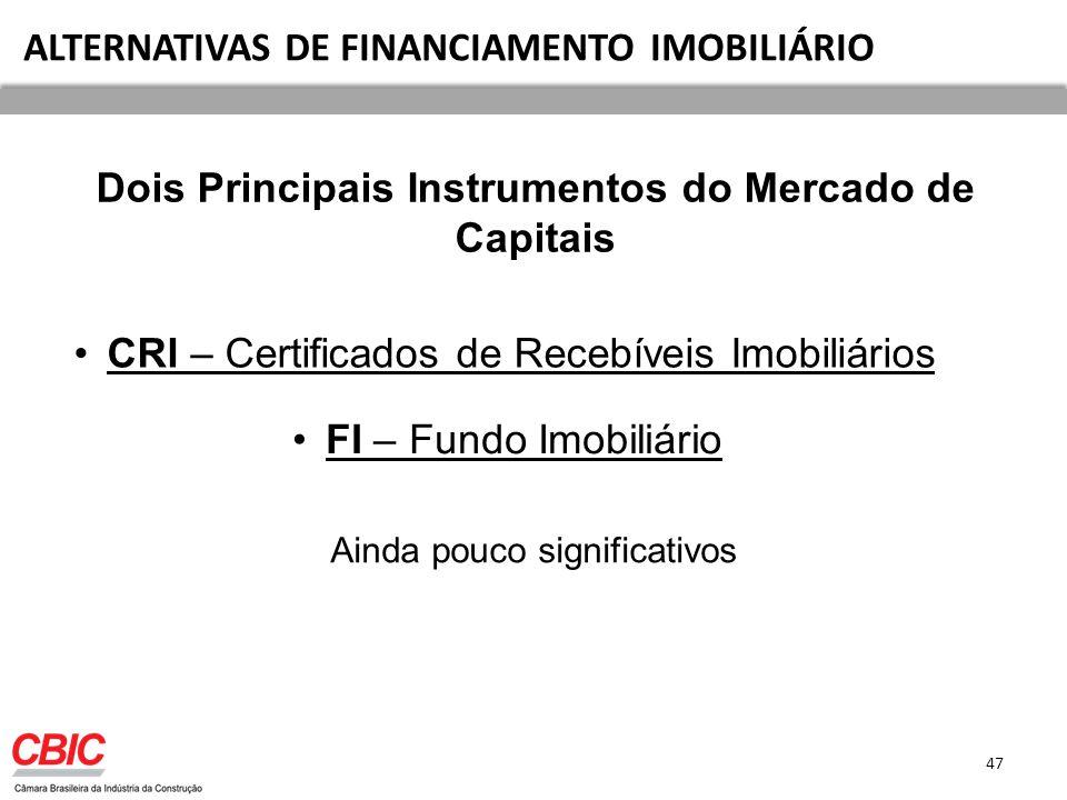 ALTERNATIVAS DE FINANCIAMENTO IMOBILIÁRIO CRI – Certificados de Recebíveis Imobiliários FI – Fundo Imobiliário Dois Principais Instrumentos do Mercado de Capitais Ainda pouco significativos 47