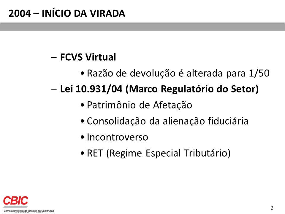 2004 – INÍCIO DA VIRADA –FCVS Virtual Razão de devolução é alterada para 1/50 –Lei 10.931/04 (Marco Regulatório do Setor) Patrimônio de Afetação Consolidação da alienação fiduciária Incontroverso RET (Regime Especial Tributário) 110112 – vs.06 6