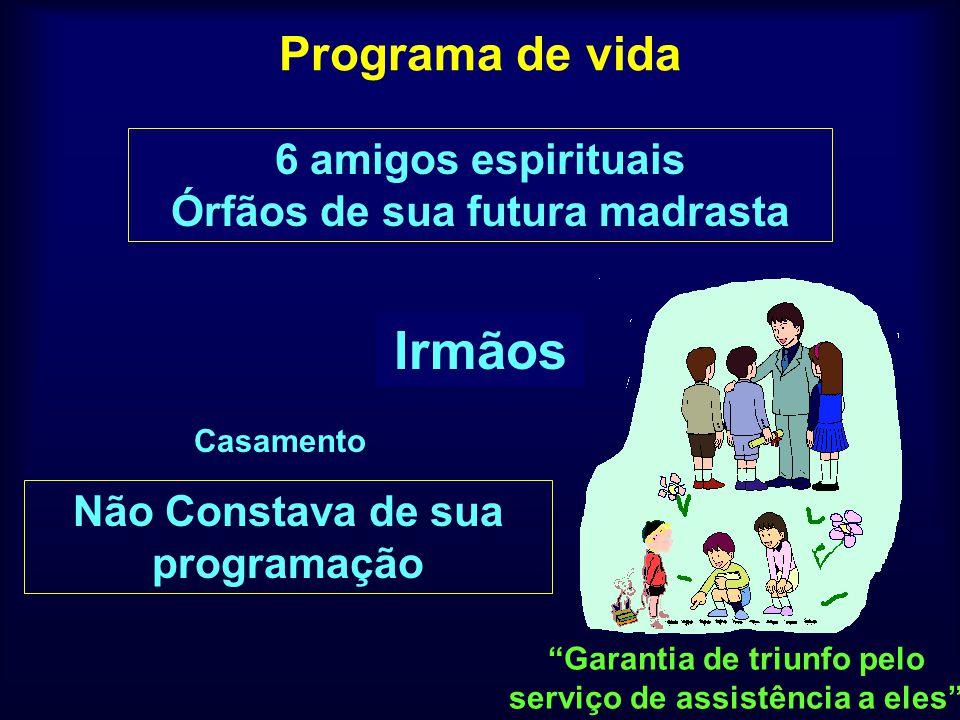 Programa de vida PaiMãeIrmãos Casamento Um Homem de BemEspírita cristã 6 amigos espirituais Órfãos de sua futura madrasta Garantia de triunfo pelo ser