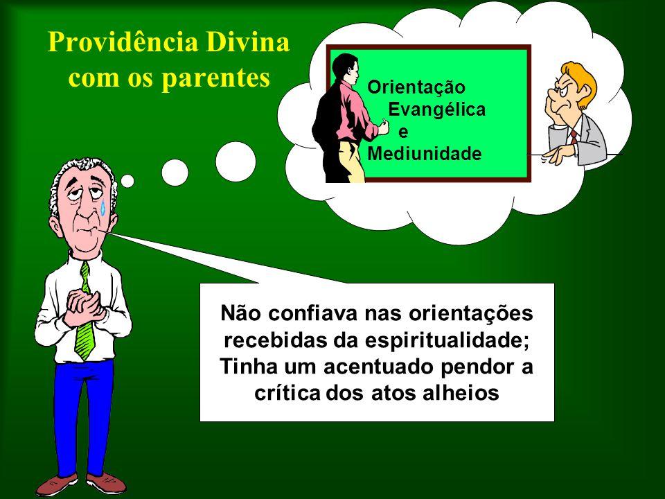 Orientação Evangélica e Mediunidade Providência Divina com os parentes Não confiava nas orientações recebidas da espiritualidade; Tinha um acentuado p