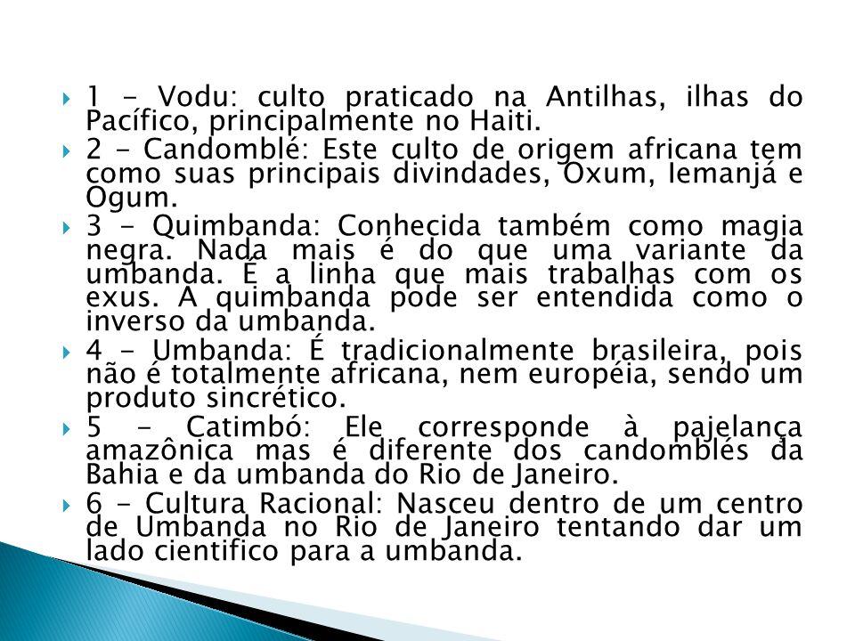 1 - Vodu: culto praticado na Antilhas, ilhas do Pacífico, principalmente no Haiti. 2 - Candomblé: Este culto de origem africana tem como suas principa