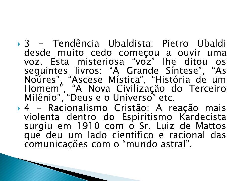 3 - Tendência Ubaldista: Pietro Ubaldi desde muito cedo começou a ouvir uma voz. Esta misteriosa voz lhe ditou os seguintes livros: A Grande Síntese,