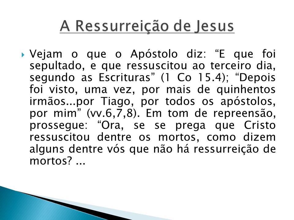 Vejam o que o Apóstolo diz: E que foi sepultado, e que ressuscitou ao terceiro dia, segundo as Escrituras (1 Co 15.4); Depois foi visto, uma vez, por