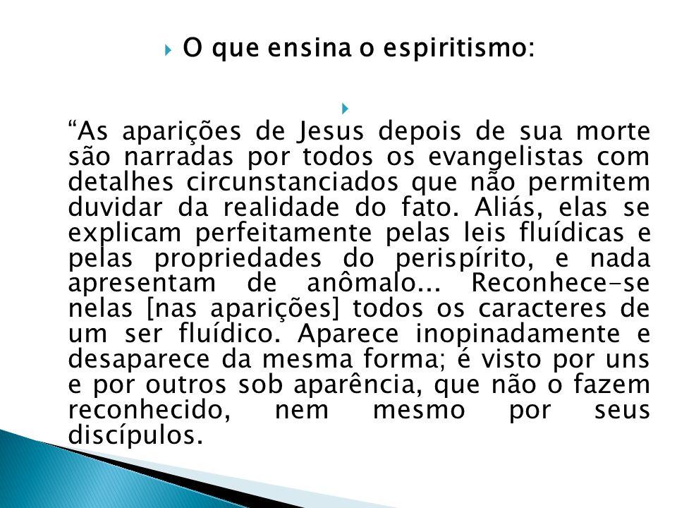 O que ensina o espiritismo: As aparições de Jesus depois de sua morte são narradas por todos os evangelistas com detalhes circunstanciados que não per