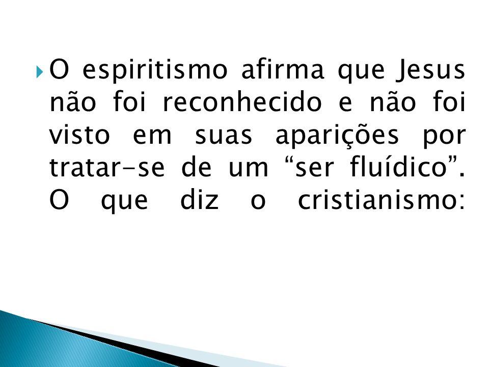 O espiritismo afirma que Jesus não foi reconhecido e não foi visto em suas aparições por tratar-se de um ser fluídico. O que diz o cristianismo: