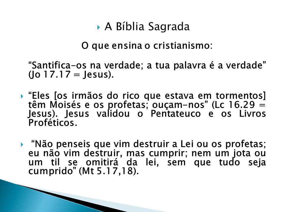 A Bíblia Sagrada O que ensina o cristianismo: Santifica-os na verdade; a tua palavra é a verdade (Jo 17.17 = Jesus). Eles [os irmãos do rico que estav