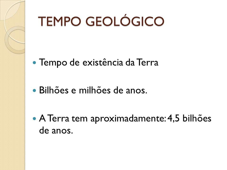 TEMPO GEOLÓGICO Tempo de existência da Terra Bilhões e milhões de anos. A Terra tem aproximadamente: 4,5 bilhões de anos.