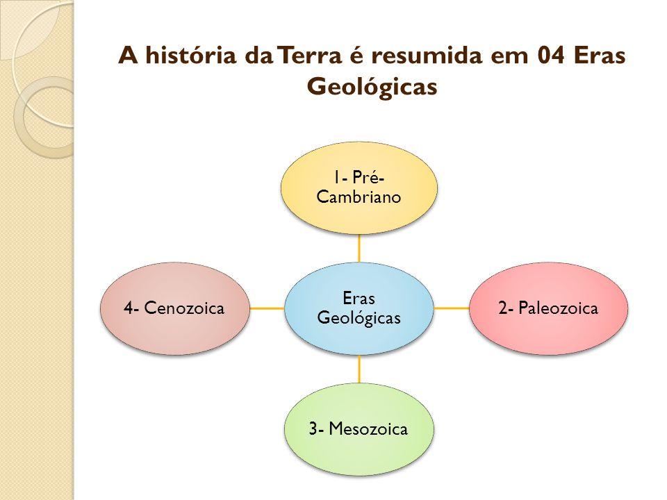 A história da Terra é resumida em 04 Eras Geológicas Eras Geológicas 1- Pré- Cambriano 2- Paleozoica3- Mesozoica4- Cenozoica