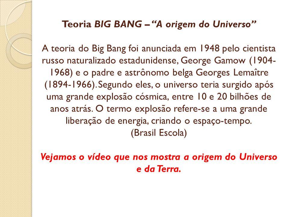 Teoria BIG BANG – A origem do Universo A teoria do Big Bang foi anunciada em 1948 pelo cientista russo naturalizado estadunidense, George Gamow (1904-