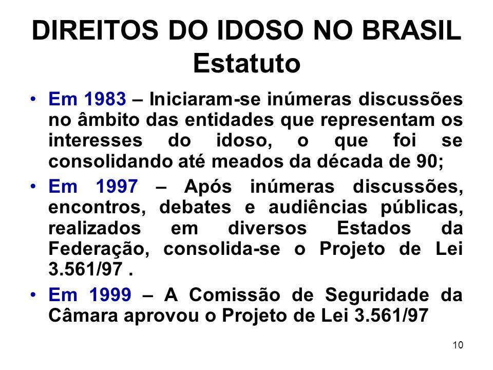 10 DIREITOS DO IDOSO NO BRASIL Estatuto Em 1983 – Iniciaram-se inúmeras discussões no âmbito das entidades que representam os interesses do idoso, o q