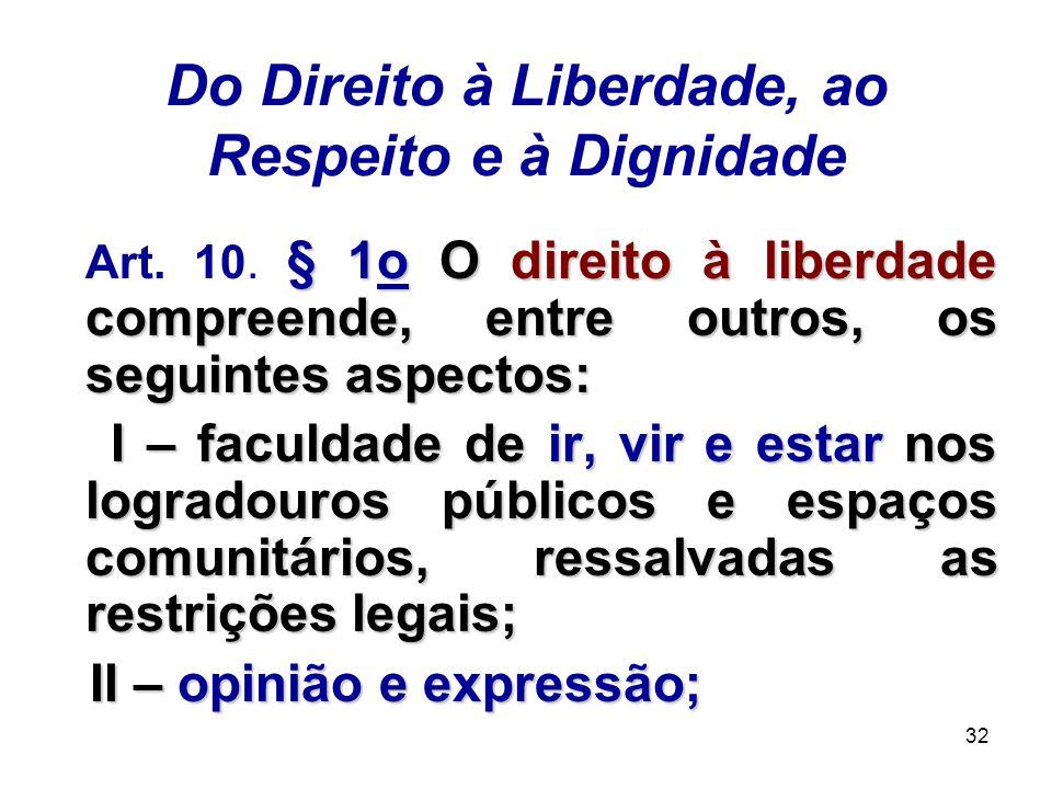 32 Do Direito à Liberdade, ao Respeito e à Dignidade § 1o O direito à liberdade compreende, entre outros, os seguintes aspectos: Art. 10. § 1o O direi