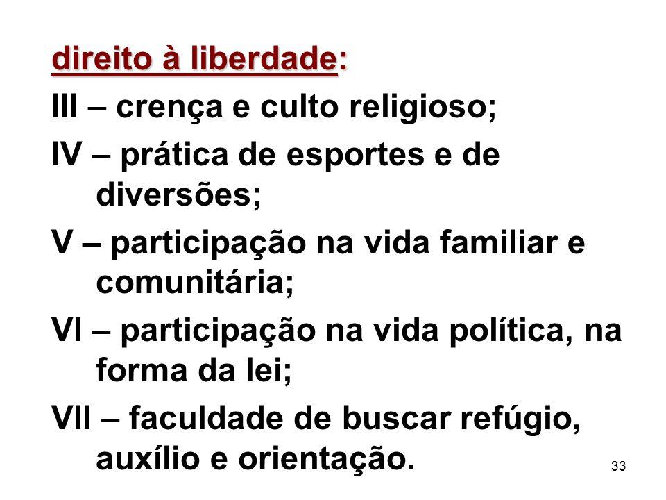 33 direito à liberdade: III – crença e culto religioso; IV – prática de esportes e de diversões; V – participação na vida familiar e comunitária; VI –