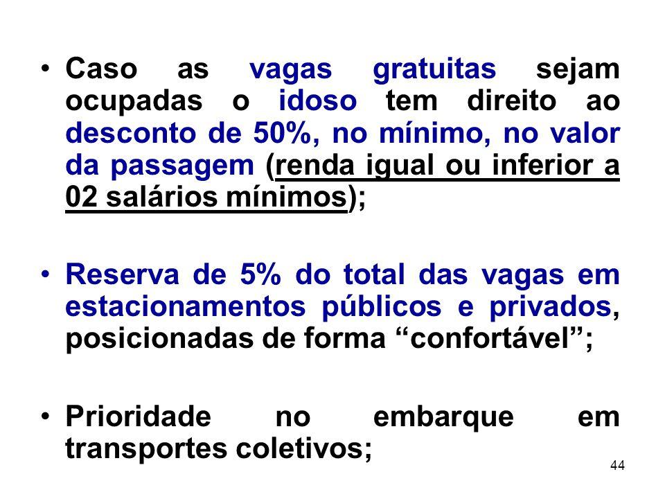 44 Caso as vagas gratuitas sejam ocupadas o idoso tem direito ao desconto de 50%, no mínimo, no valor da passagem (renda igual ou inferior a 02 salári