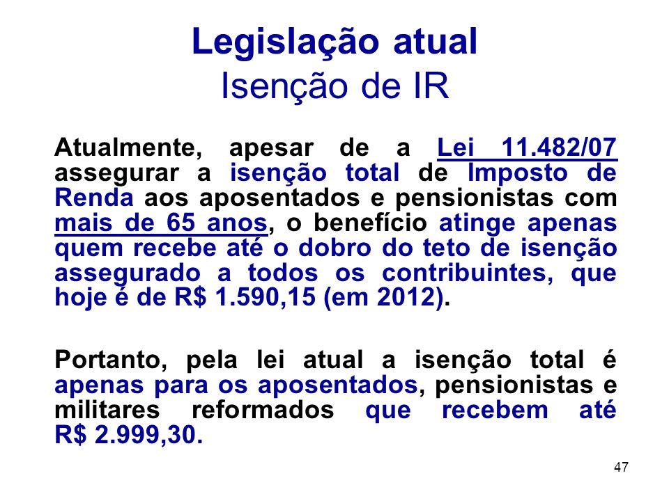 47 Legislação atual Isenção de IR Atualmente, apesar de a Lei 11.482/07 assegurar a isenção total de Imposto de Renda aos aposentados e pensionistas c