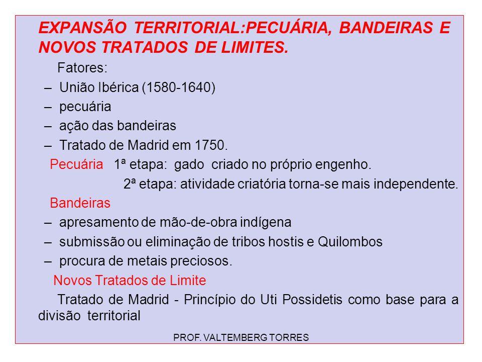 EXPANSÃO TERRITORIAL:PECUÁRIA, BANDEIRAS E NOVOS TRATADOS DE LIMITES. Fatores: –União Ibérica (1580-1640) –pecuária –ação das bandeiras –Tratado de Ma