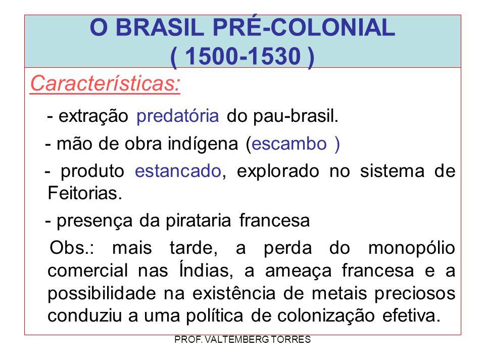 Características: - extração predatória do pau-brasil. - mão de obra indígena (escambo ) - produto estancado, explorado no sistema de Feitorias. - pres