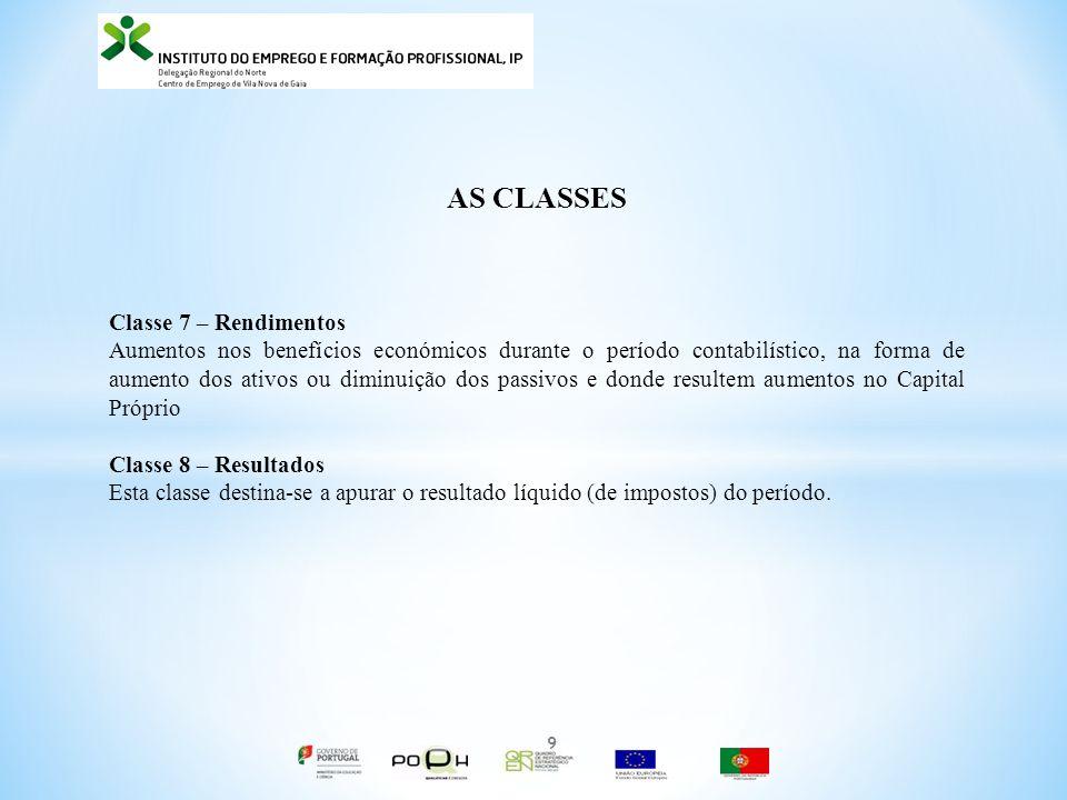 AS CLASSES Classe 7 – Rendimentos Aumentos nos benefícios económicos durante o período contabilístico, na forma de aumento dos ativos ou diminuição do