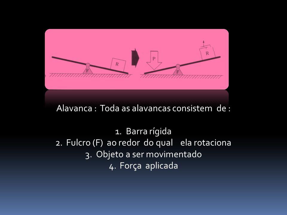 Alavanca : Toda as alavancas consistem de : 1.Barra rígida 2.Fulcro (F) ao redor do qual ela rotaciona 3.Objeto a ser movimentado 4.Força aplicada