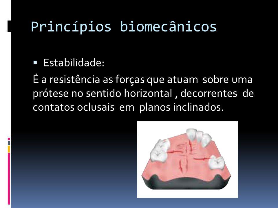 Princípios biomecânicos Estabilidade: É a resistência as forças que atuam sobre uma prótese no sentido horizontal, decorrentes de contatos oclusais em planos inclinados.