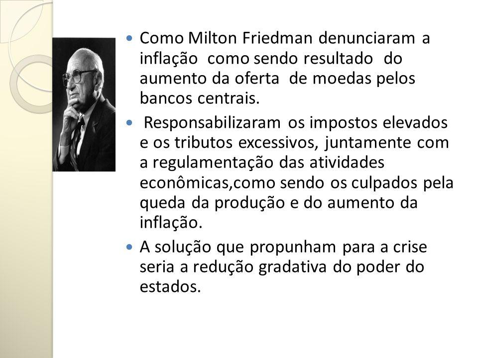Como Milton Friedman denunciaram a inflação como sendo resultado do aumento da oferta de moedas pelos bancos centrais. Responsabilizaram os impostos e