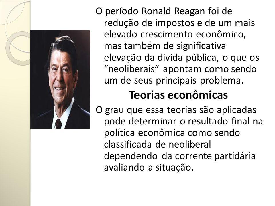 O período Ronald Reagan foi de redução de impostos e de um mais elevado crescimento econômico, mas também de significativa elevação da divida pública,