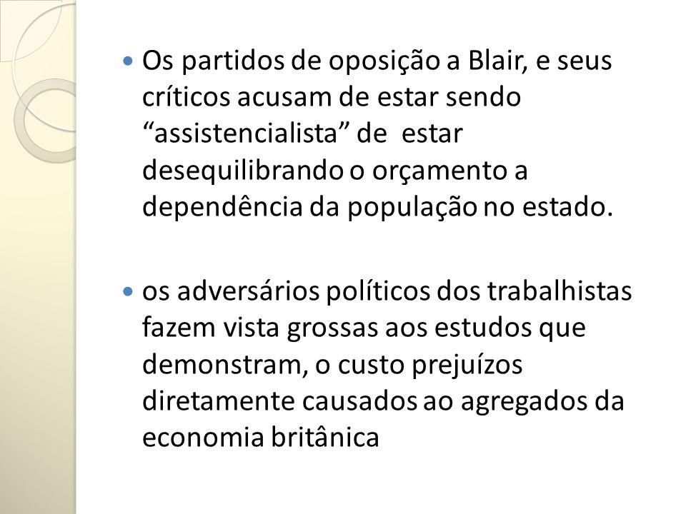 Os partidos de oposição a Blair, e seus críticos acusam de estar sendo assistencialista de estar desequilibrando o orçamento a dependência da populaçã