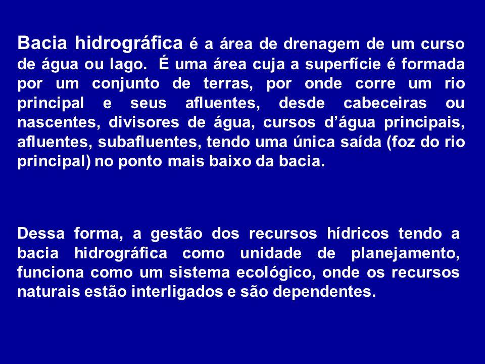 Bacia hidrográfica é a área de drenagem de um curso de água ou lago. É uma área cuja a superfície é formada por um conjunto de terras, por onde corre