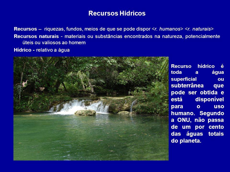A água é um importante recurso ambiental cuja alteração adversa pode contribuir para a degradação da qualidade ambiental.
