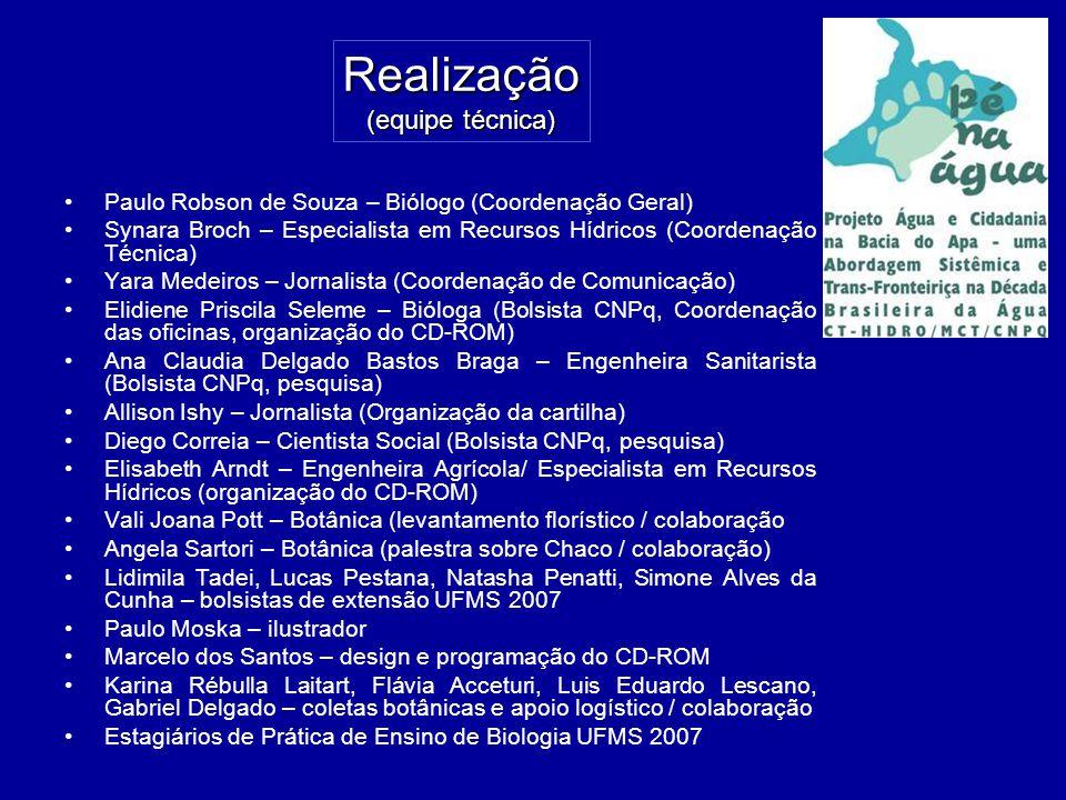 Realização (equipe técnica) Paulo Robson de Souza – Biólogo (Coordenação Geral) Synara Broch – Especialista em Recursos Hídricos (Coordenação Técnica)