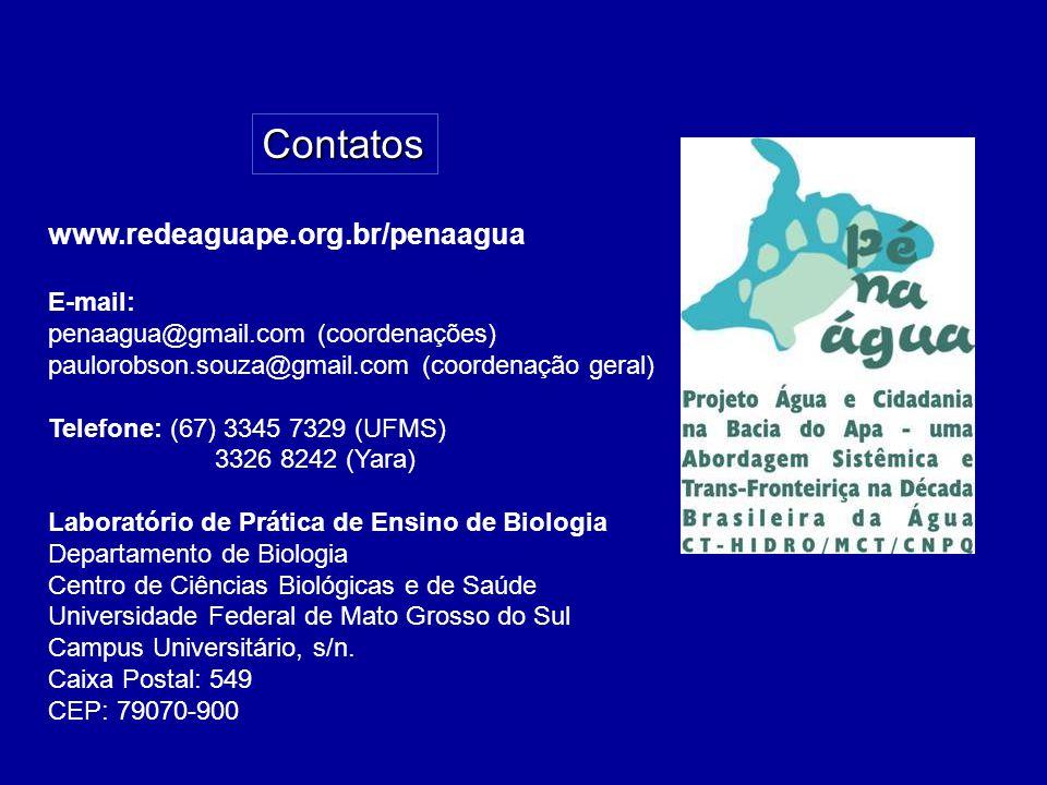 www.redeaguape.org.br/penaagua E-mail: penaagua@gmail.com (coordenações) paulorobson.souza@gmail.com (coordenação geral) Telefone: (67) 3345 7329 (UFMS) 3326 8242 (Yara) Laboratório de Prática de Ensino de Biologia Departamento de Biologia Centro de Ciências Biológicas e de Saúde Universidade Federal de Mato Grosso do Sul Campus Universitário, s/n.
