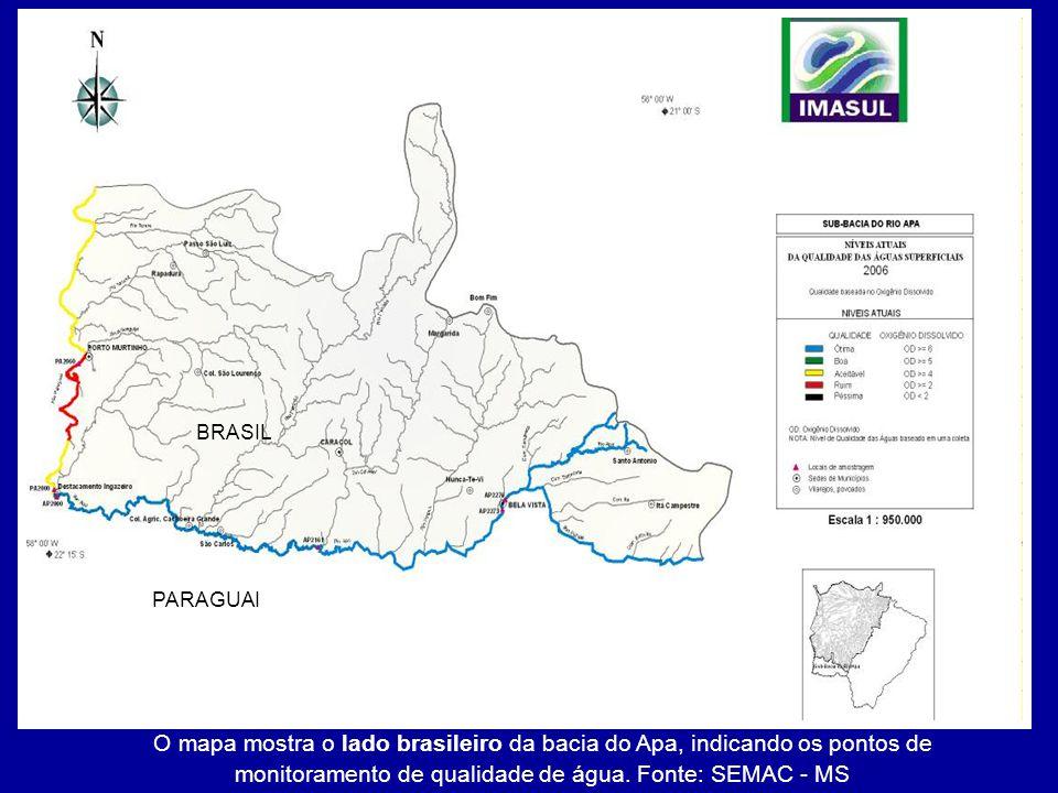 O mapa mostra o lado brasileiro da bacia do Apa, indicando os pontos de monitoramento de qualidade de água. Fonte: SEMAC - MS PARAGUAI BRASIL