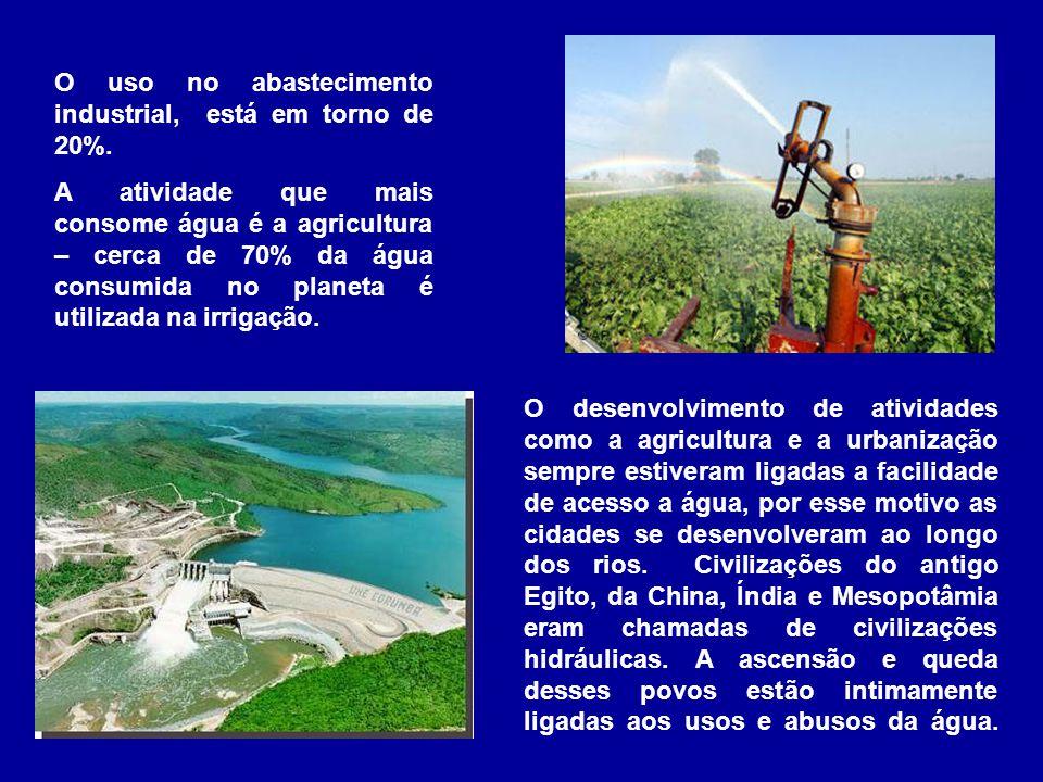 O uso no abastecimento industrial, está em torno de 20%. A atividade que mais consome água é a agricultura – cerca de 70% da água consumida no planeta