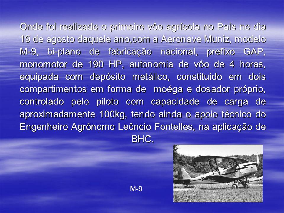 No Brasil, a Aviação Agricola iniciou-se em 1947, devido ao ataque de uma praga de gafanhotos na região de Pelotas,Rio Grande do Sul.