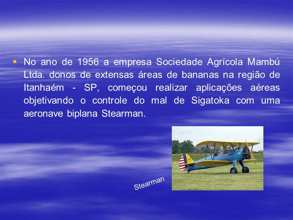 Décadas de 40 e 50 Em 1947 foi realizado o primeiro vôo agrícola no Brasil, mais precisamente em Pelotas, no Rio Grande do Sul. O Engenheiro Agrônomo