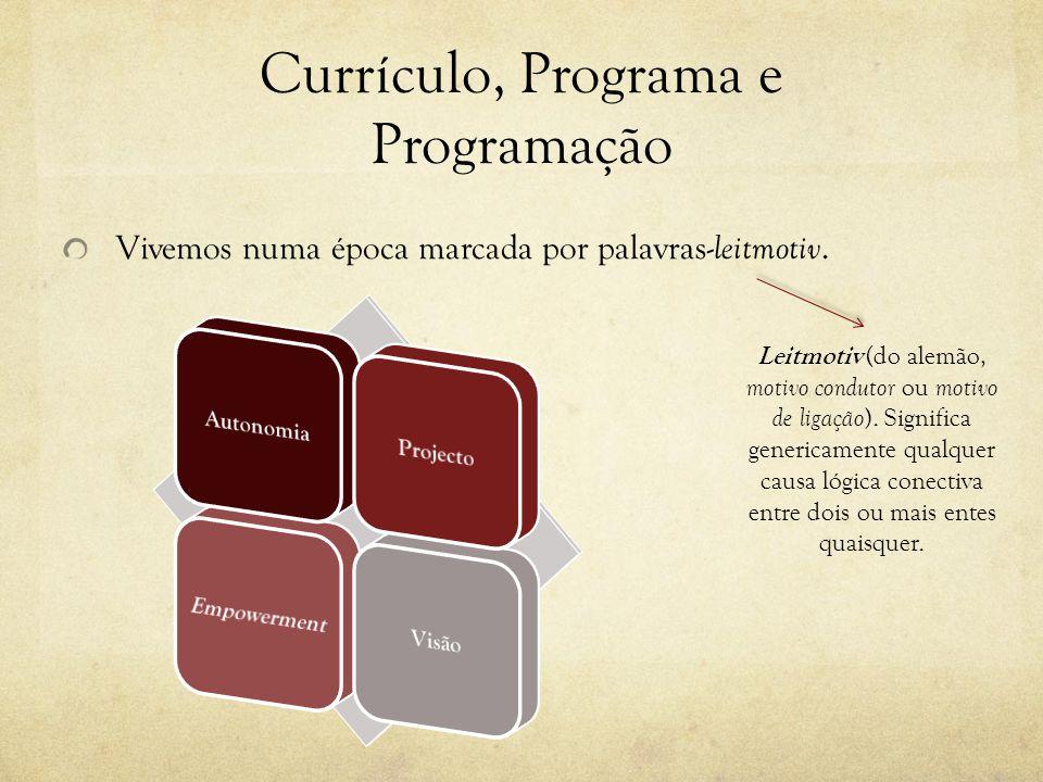Currículo, Programa e Programação Vivemos numa época marcada por palavras- leitmotiv.