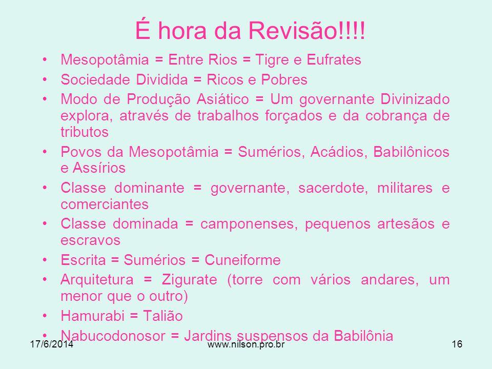 Jardins Suspensos da Babilônia 17/6/201415www.nilson.pro.br
