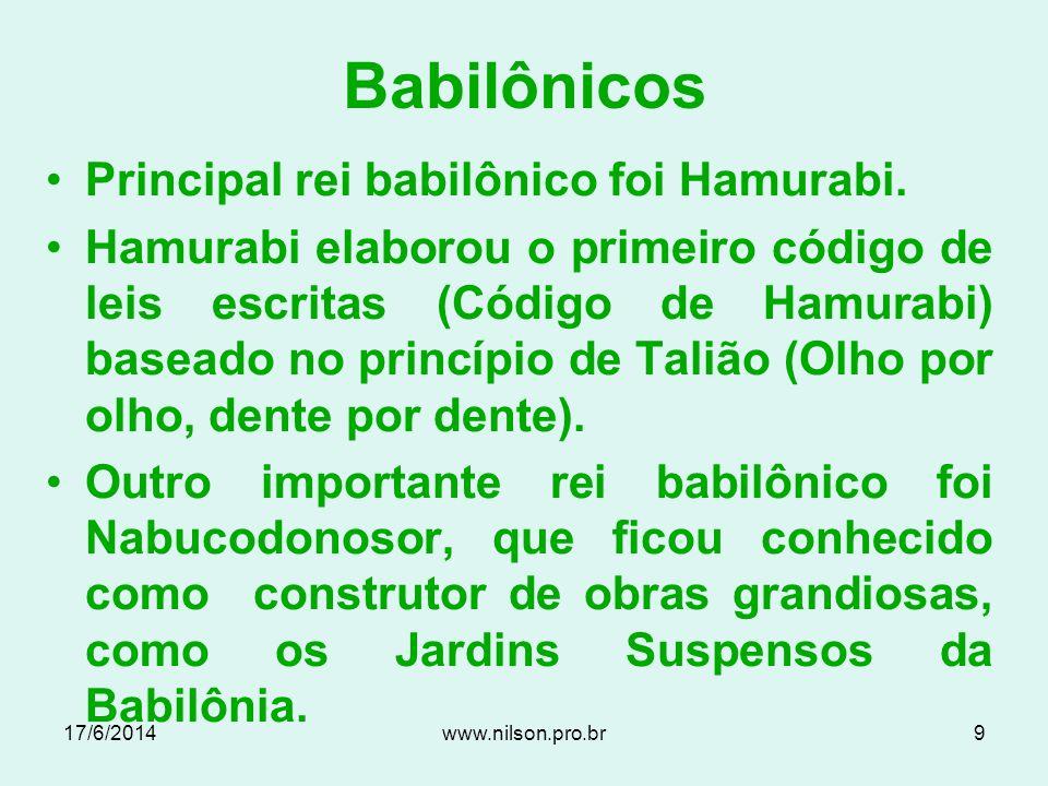 Escrita Cuneiforme 17/6/20148www.nilson.pro.br
