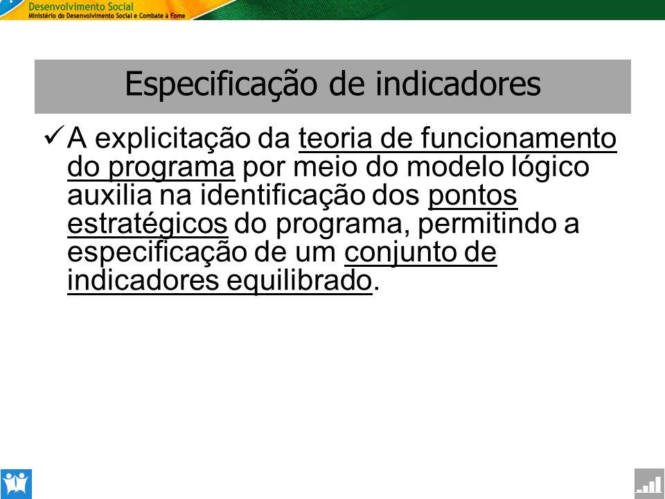 SAGI Secretaria de Avaliação e Gestão da Informção Especificação de indicadores A explicitação da teoria de funcionamento do programa por meio do mode