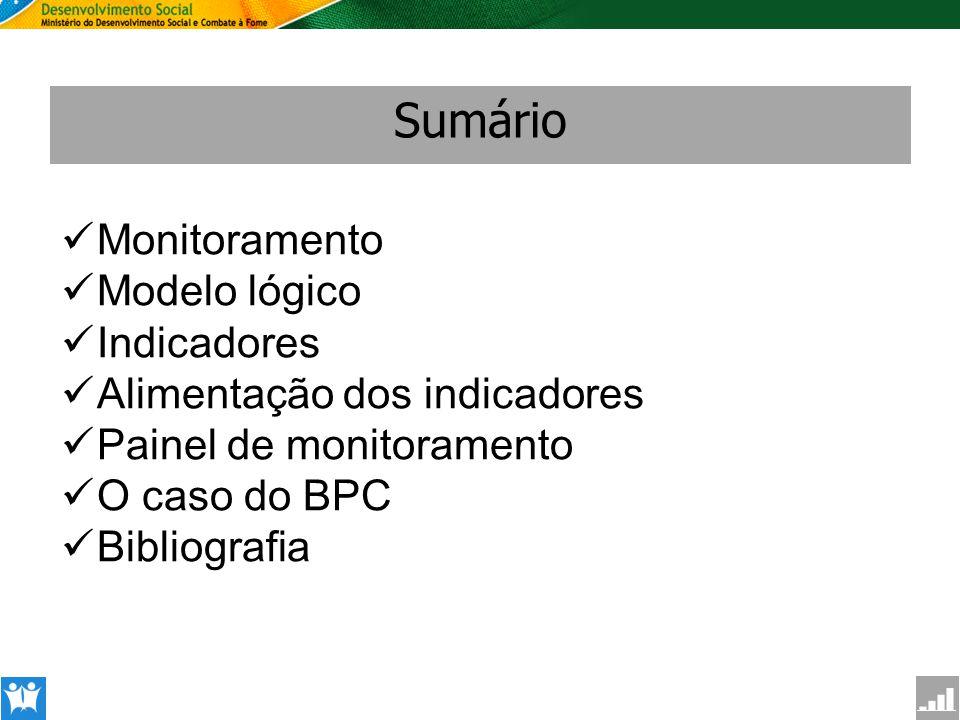 SAGI Secretaria de Avaliação e Gestão da Informção Sumário Monitoramento Modelo lógico Indicadores Alimentação dos indicadores Painel de monitoramento