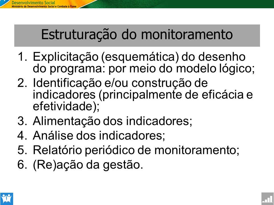 SAGI Secretaria de Avaliação e Gestão da Informção Estruturação do monitoramento 1.Explicitação (esquemática) do desenho do programa: por meio do mode